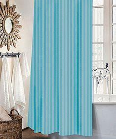 Turqoise Stripe Mist Shower Curtain Set