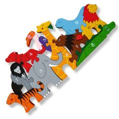 Real wood jigsaw puzzle for children. Populate the Zoo with animals numbered between 1-10. brightly coloured and interesting shapes, this makes an exceptional toy for any child. Join the animals to make a Zoo. Hand crafted and hand painted to create a meorable but fun toy which aids children's learning.