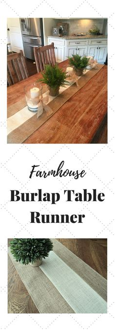 The burlap table runner is hand made from both natural and ivory burlap.It has such an updated rustic modern look to it and blends beautifully with all styles of decor. | Burlap Table Runner, Modern Rustic Home Decor, Farmhouse Table Runner, Bridal Shower Decorations, Holiday Table Runner (affiliate)