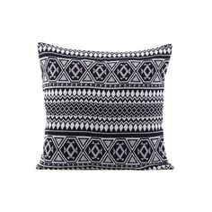 House Doctor DK Indi Cushion ($50) ❤ liked on Polyvore featuring home, home decor, throw pillows, black and white home decor, black and white throw pillows, black and white accent pillows and square throw pillows