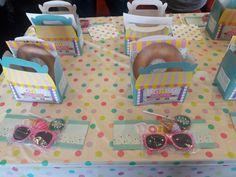 Donut birthday party table decorations