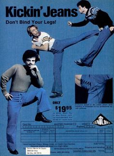 """ Action Jeans (aka Kickin' Jeans) were produced by Century Martial Arts from 1977 to 1991 and endorsed by Chuck Norris from… Funny Fashion, Weird Fashion, 70s Fashion, Vintage Fashion, Fasion, Fashion Trends, Retro Ads, Vintage Advertisements, Funny Vintage Ads"