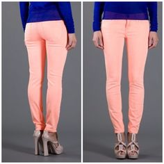 """3X HOST PICKCURRENT ELLIOTT NEON SKINNY Current Elliott Neon Orange Stiletto Jean. Size 26. Gently worn, line through label to prevent return. No holes, stains, or frays. These are SOLD OUT everywhere.  Stiletto cut in orange stretch denim. Current/Elliott signature clean, classic five-pocket style. Low rise. Fitted through skinny legs. 27 1/2"""" approx. inseam. Button/zip fly; belt loops. Cotton/spandex; machine wash. Made in the USA. Current/Elliott Jeans"""