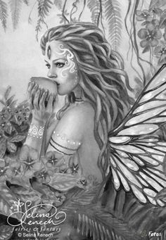 Selena Fenech Fairy Myth Mythical Mystical Legend Elf Fairy Fae Wings Fantasy Elves Faries Sprite Nymph Pixie Faeries Hadas Enchantment Forest Whimsical Whimsy Mischievous Coloring pages colouring adult detailed advanced printable Kleuren voor volwassenen coloriage pour adulte anti-stress kleurplaat voor volwassenen Line Art Black and White