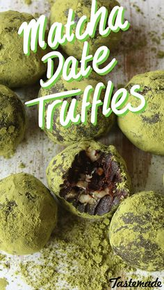 Dense, fudgy chocolate date truffles with chunks of walnuts, coated in green tea powder.