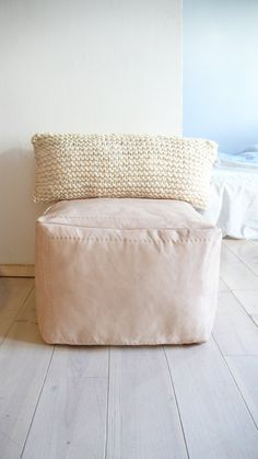 Hand Knitted Wool Cushion   Natural Undyed