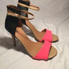 "Justfab aveiro Justfab aveiro in coral (looks more hot pink than coral though). Sz 10 never worn no box. 4.5"" heel JustFab Shoes Heels"