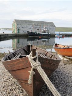 Clinker built faering outside of the Shetland Museum, Lerwick. By John Hackston