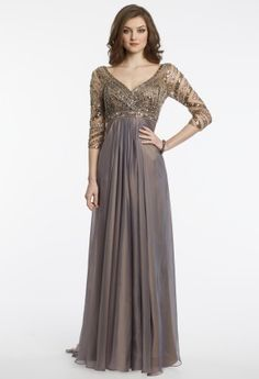 Iridescent chiffon beaded illusion dress with 3/4 sleeves by Long Paige.��Deep V neckline��Beaded bodice��Empire waist��Full chiffon skirt��Open back, center zipper, and sweeping train