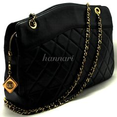 AUTHENTIC CHANEL LARGE DOUBLE CHAIN SHOULDER BAG LEATHER BLACK QUILTED LAMB 612 #CHANEL #ShoulderBag