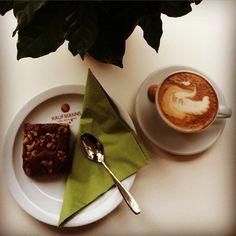 Enjoying life with an organic cappuccino and an organic vegan chocolate walnut brownie.  #coffee #cappuccino #latteart #enjoying #life #vegan #chocolate #walnut #brownie #organic #awesome #instagood #photo #passion #kaffee #schokolade #walnuss #foto #wiesbaden #kaufmannswiesbaden