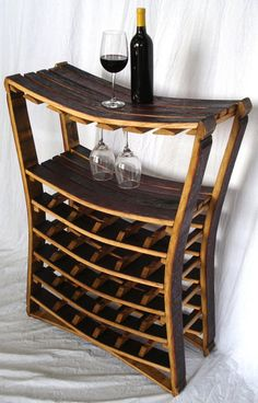 Wine rack made from the staves of empty wine barrels.