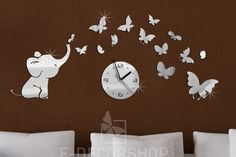 Elephant Butterfly Mirror Clock,Wall Clock