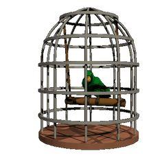 El loro juega en la jaula. El loro juega en el columpio.