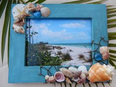 Blue Green Seashell Photo Frame - Picture Frame Adorned With Shells - Shell Frame - Beach Décor
