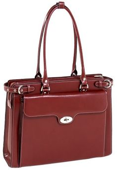 McKleinUSA WINNETKA 94836 Red Leather Ladies' Briefcase w/ Removable Sleeve