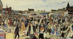 The Barras' watercolour by Avril Paton. The Barras (the Barrows) is Glasgow's famous market for cheap new and second hand goods. It started in the 1950's when people sold rags and bric-a-brac from hand barrows in Clyde Street. The painting was done in the winter of 1984. The artist has shown herself with a shopping bag to the right of her signature.