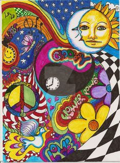 psychedelic by jerzee girl traditional art drawings psychedelic 2008 . - I sketched this in pencil ( copy) it turned out good. Indie Drawings, Trippy Drawings, Psychedelic Drawings, Art Drawings, Colorful Drawings, Hippie Drawing, Hippie Painting, Trippy Painting, Arte Indie