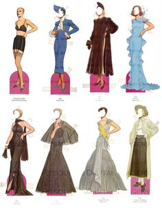 Fashion Paper Doll 1930s Vintage Costumes 30 Dresses Gowns Printable Digital Download 16 Sheets  Collage / Altered Art Image / Vintage Decor...