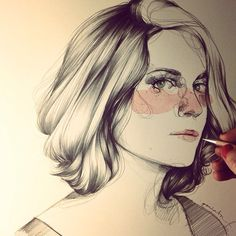 Beautiful pen piece of art work Illustration Sketches, Illustrations And Posters, Law One Piece, Paula Bonet, Paintings Famous, Beautiful Paintings, Portraits, Aesthetic Drawing, How To Draw Hair