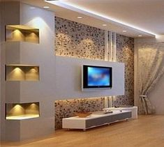 Simple and Creative Tips and Tricks: False Ceiling Design For Restaurant false ceiling living room french doors.False Ceiling Design For Bedroom. Tv Wall Design, Ceiling Design, Ceiling Ideas, Ceiling Lights, Modern Tv Wall Units, Wall Units For Tv, Living Room Tv Unit Designs, Plafond Design, False Ceiling Living Room