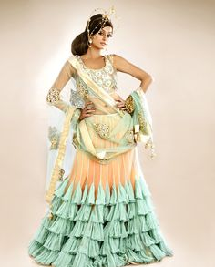 Blush Peach Lengha Set with Sea Green Ruffles - Exclusively In - Payal Singhal
