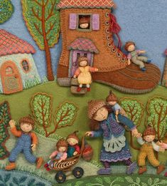 From A Pocketful of Posies, A Treasury of Nursery Rhymes, Fabric Relief Collage by Salley Mavor via Seven Impossible Things Before Breakfast Felt Fabric, Fabric Art, Felt Embroidery, Wool Applique, Felt Toys, Felt Art, Nursery Rhymes, Felt Crafts, Textile Art