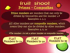 web-based game for practicing prime/composite numbers