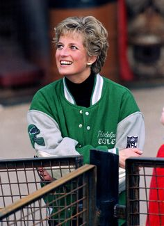 In a Philadelphia Eagles letterman jacket at Alton Towers Theme Park.   - HouseBeautiful.com