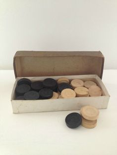 vintage box of wooden draughts/checkers by RosyRandom on Etsy, $14.00