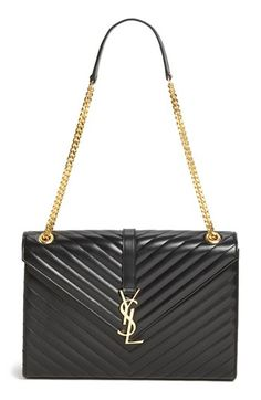 Saint Laurent 'Cassandre Lisse - Large' Shoulder Bag available at - shopping online bags, suede black bag, ladies bags with price *ad Ysl Bag, Clutch Bag, Animal Backpacks, Yves Saint Laurent, Large Shoulder Bags, Beautiful Bags, Swagg, My Bags, Purses And Handbags