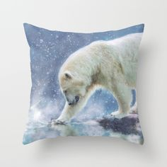 A polar bear at the water Throw Pillow