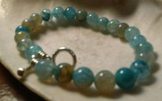 Men's Beaded Blue Dragons Veins Agate and Silver 900 8.6 #Handmade #Beaded