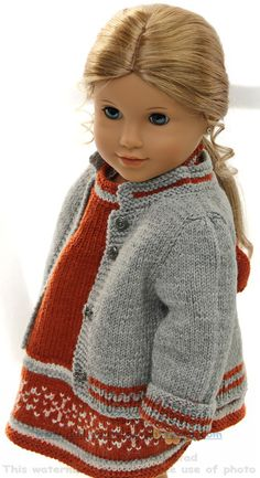 Doll knitting patterns - Fall Fashion for your doll, in rust, gray and white Knitted Dolls Dress Pattern, Crochet Doll Dress, Doll Dress Patterns, Doll Sewing Patterns, Knitting Patterns, Knitting Dolls Clothes, Baby Doll Clothes, Baby Born Kleidung, American Doll Clothes