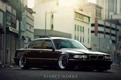 BMW E38 7 series black slammed deep dish Stanceworks