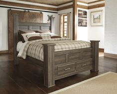 masculine-dark-smooth-finished-oak-wood-full-size-bed-frame-be-equipped-four-square-post-and-two-end-drawers-also-striped-grey-bedding-sheet-comforter-and-different-pillows-on-hardwood-floor-with-king.jpg (3000×2400)