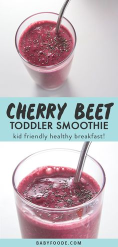 This vibrant Cherry + Beet Smoothie is a sweet way for the entire family to enjoy a healthy smoothie! Toddler (and mom) approved this smoothie is great served for breakfast, light lunch, a quick afterschool snack or even after a tough workout. Toddler Smoothies, Smoothies For Kids, Fruit Smoothies, Healthy Smoothies, Healthy Drinks, Healthy Kids, Healthy Snacks, Fruit Snacks, Fruit Recipes
