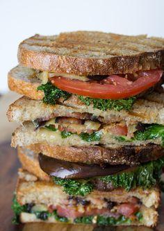 Eggplant, kale, tomato, and bacon panini | www.tablefortwoblog.com