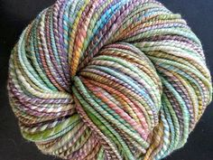 2-ply handspun yarn in Mangoberry Cream color blend 216 yds bulky 8.1 oz