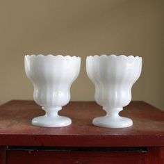 Vintage milk glasses as vases