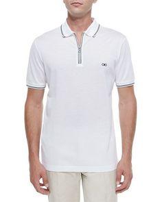 N3GA5 Salvatore Ferragamo Cotton Piqué Zip Polo Shirt with Gancini Chest Embroidery, White/Navy