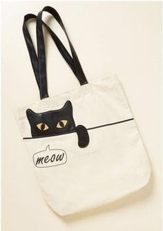 Cute Backpacks and Unique Backpacks Give You Paws Tote. Cute Backpacks and Unique Backpacks Give You Paws Tote. With all your essentials fit 'purr-fectly' inside this ivory Unique Backpacks, Cute Backpacks, Cat Bag, Bag Patterns To Sew, Denim Bag, Fabric Bags, Shopper, Handmade Bags, Canvas Tote Bags