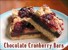 Chocolate Cranberry Bars vegan, plantbased, earth balance, made just right