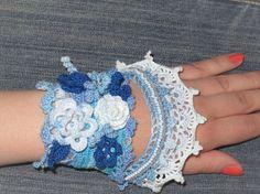 Вязанный браслет в бохо-стиле «Голубой туман» - Ярмарка Мастеров - ручная…