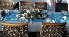 Turquoise, White & Lavender Wedding reception decor in Rethymno, Crete . Wedding Reception Decorations, Table Decorations, Rethymno Crete, Wedding Events, Royal Blue, Travel Destinations, Greece, Destination Wedding, Lavender