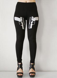 36b3da13b364 9mm Side Guns Womens Black Leggings Style by rabbitandeye on Etsy
