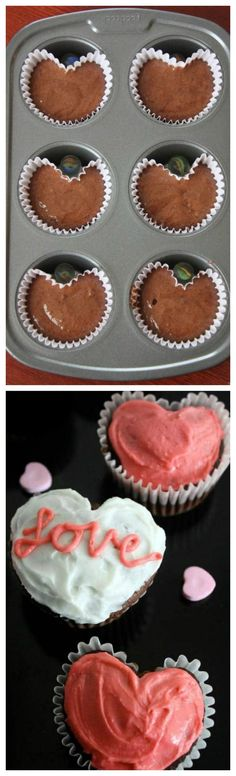 Heart Cupcakes made using a Muffin Tin and a Marble