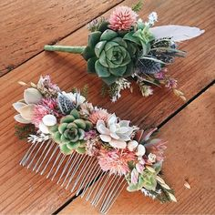 wedding hair comb Lovin this dried flower and succulent hair comb and boutonniere by eucca . If you love these too and want to include them when you say I Bridal Hair Vine, Wedding Hair Flowers, Hair Comb Wedding, Wedding Hair Pieces, Bridal Flowers, Flowers In Hair, Corona Floral, Hair Garland, Flower Hair Pieces