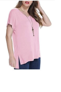 Women's Short Sleeve T Shirt V Neck Loose Tops with Side Split Save 65% – US only promo code 65TW12VV End date: Jul 21 #offer #sale #deal #Discount