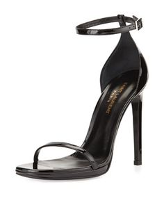 Patent Ankle-Wrap Sandal, Black by Saint Laurent at Bergdorf Goodman.